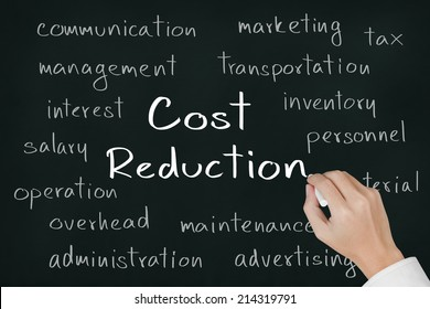 business hand writing cost reduction concept on chalkboard