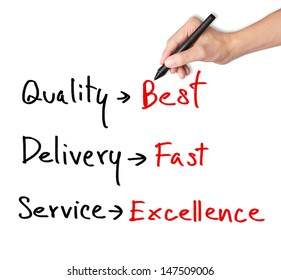 business hand writing product and service evaluation on quality, delivery and service