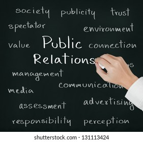 business hand writing public relations concept