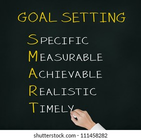 business hand writing smart goal or objective setting - specific - measurable - achievable realistic - timely