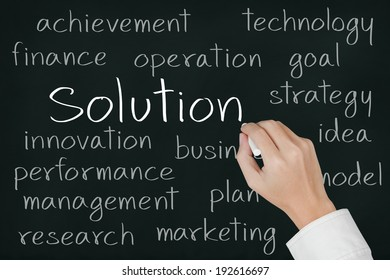 business hand writing solution concept on chalkboard