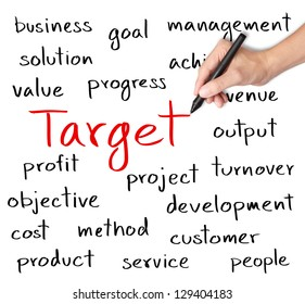 business hand writing target concept