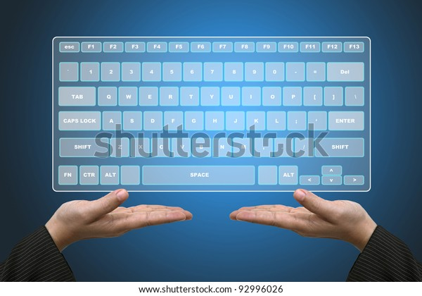 Business Hands Hold Technology Virtual Keyboard Interface