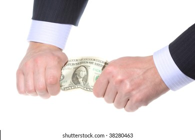 business hands tearing money isolated on white background