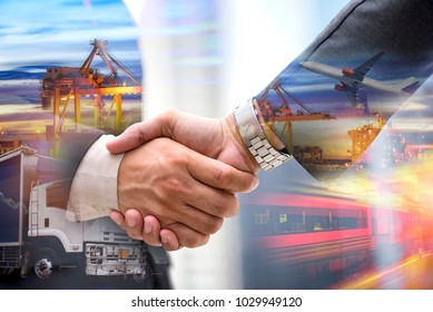 Business handshake, Businessman shaking hand with partner on import and export background investment for success, investment concept