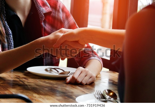 Business Handshake Friend Handshake Shows New Stock Photo