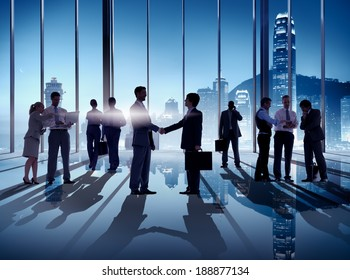 Business Handshake in Hong Kong Office