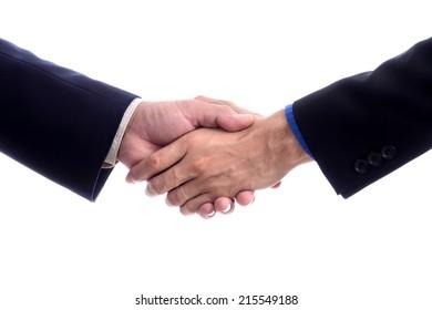 Business handshake isolated on white background