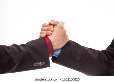 Business handshake in isolated white