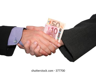 a business handshake with money, isolated on white