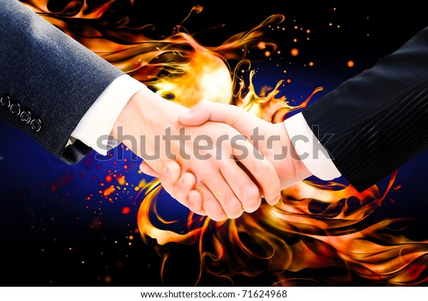 Business handshake on an abstract background