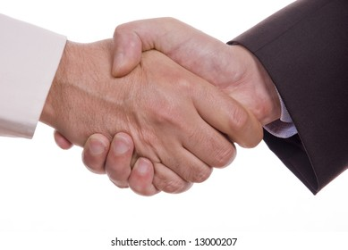 Business handshake on withe background