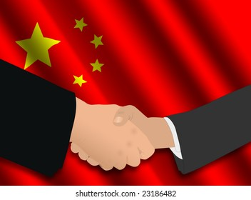 business handshake over Chinese flag illustration