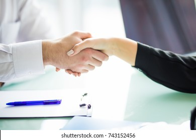 Business handshake and business people. handshake Business concept in office.