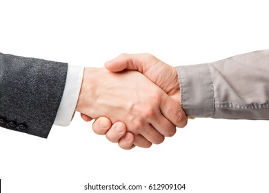 Business handshake and business people concepts. Two men shaking hands isolated on white background. Close-up image of a firm handshake between two colleagues.