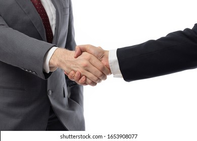 Business handshake and business people symbol of success cooperation concepts. Two businessman hand shaking isolated on white background.