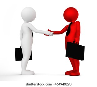Business handshake. Ton man shaking hands. Deal, agreement, partner concept. 3D illustration