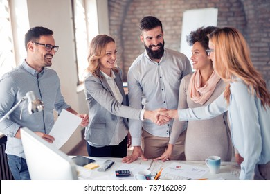 Business handshake.Business handshake and business people concept.