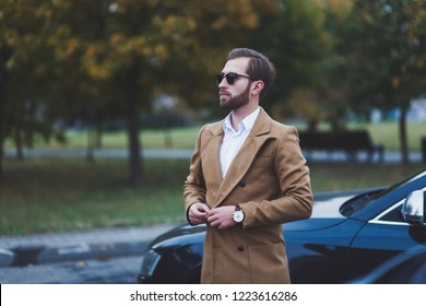 business handsome man in a coat near the car