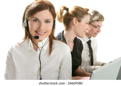 Business help desk with beautiful woman and headphones micro