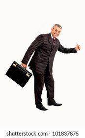 Business hitchhike isolated on white background