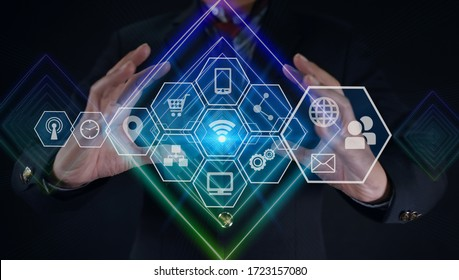 Business holding Abstract line with network wireless systems and innovative technology connection concept.