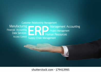 Business holding Enterprise resource planning (ERP) cloud concept wording