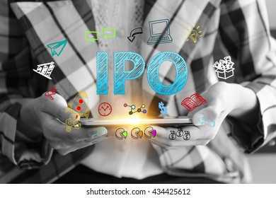 business holding a smart phone with IPO  text on black and white background ,business analysis and strategy as concept