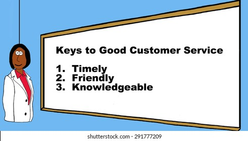 Business or hospital worker with the 'keys to good customer service: timely, friendly, knowledgeable'.