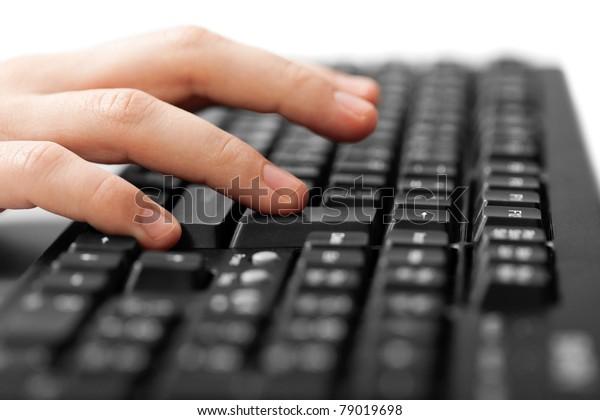 Business human hand working pc computer keyboard