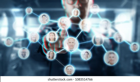 business, human resources, headhunting and technology concept - businessman working with social network contacts icons over abstract background