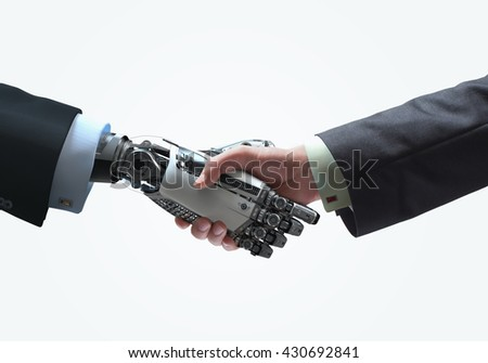 Business Human and Robot hands in handshake. Artificial intelligence technology Design Concept. Friendship between Artificial and real man conceptual template. Isolated on white background
