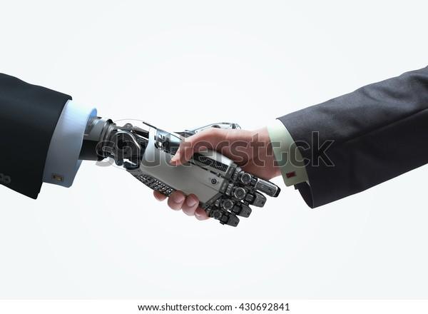 Business Human und Robot Hände in Hand. Design-Konzept für künstliche Intelligenz-Technologie Freundschaft zwischen künstlicher und echter menschlicher konzeptueller Vorlage. Einzeln auf weißem Hintergrund