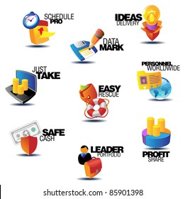 Business icons. Heading concepts for document, article or website. Raster version. Vector version is also available.