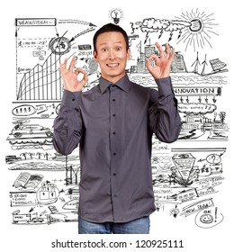 Business idea concept, Asian man shows OK with both hands