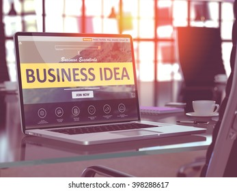 Business Idea Concept. Closeup Landing Page on Laptop Screen  on background of Comfortable Working Place in Modern Office. Blurred, Toned Image. 3D Render.
