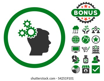 Business Idea icon with bonus images. Glyph illustration style is flat iconic bicolor symbols, green and gray colors, white background.