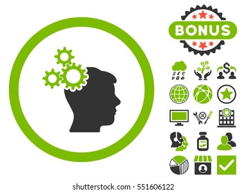 Business Idea icon with bonus symbols. Glyph illustration style is flat iconic bicolor symbols, eco green and gray colors, white background.