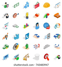 Business idea icons set. Isometric style of 36 business idea  icons for web isolated on white background