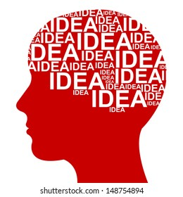 Business Idea Solution Concept Present by Red Head With Idea Text in Brain Isolated on White Background