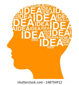 Business Idea Solution Concept Present by Orange Head With Idea Text in Brain Isolated on White Background