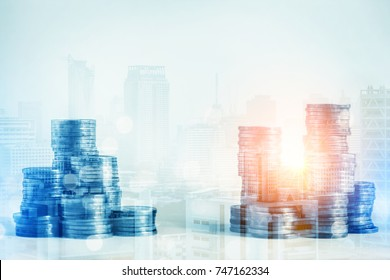 business ideas with coin stack money double expore with cityscape with light flare