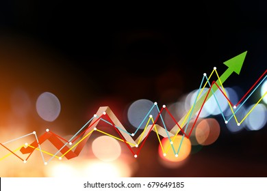 business ideas concept with blue bokeh background with graph icon analysis display