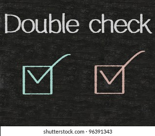 business idioms written on blackboard background, double check
