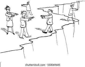 Business illustration showing blindfolded businesspeople walking aimlessly along the edge of a cliff.