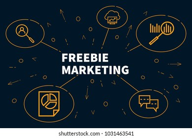 Business illustration showing the concept of freebie marketing