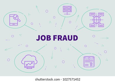 Business illustration showing the concept of job fraud