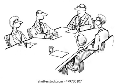 Business illustration showing five businesspeople in a meeting.
