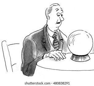 Business illustration showing perplexed businessman looking into a crystal ball.