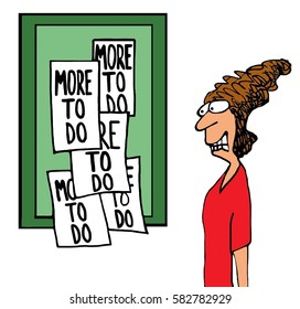 Business illustration of a stressed businesswoman looking at a board that states 'more to do'.